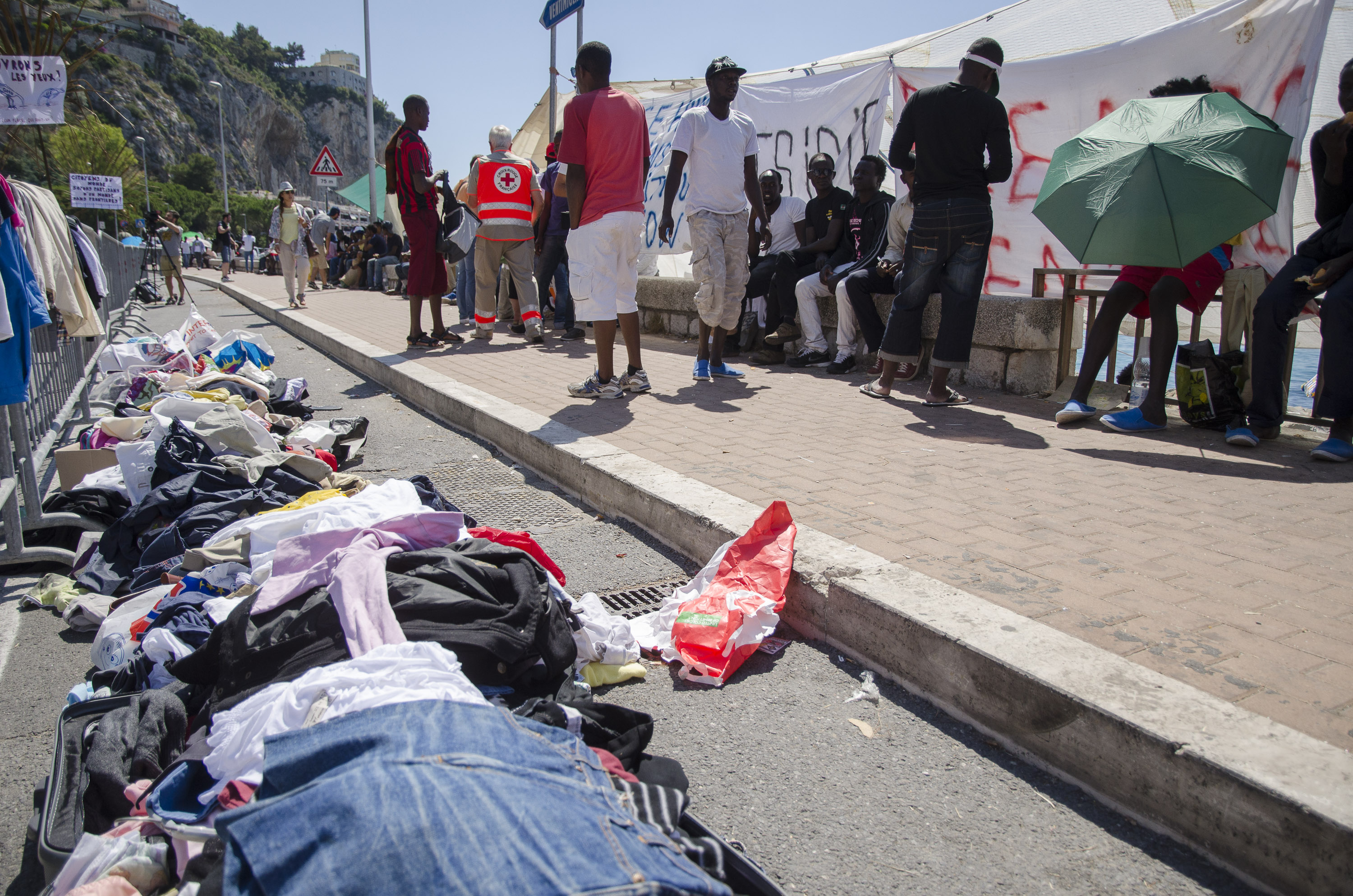 Italy-Refugees on the day after the forced evictions in Ventimiglia
