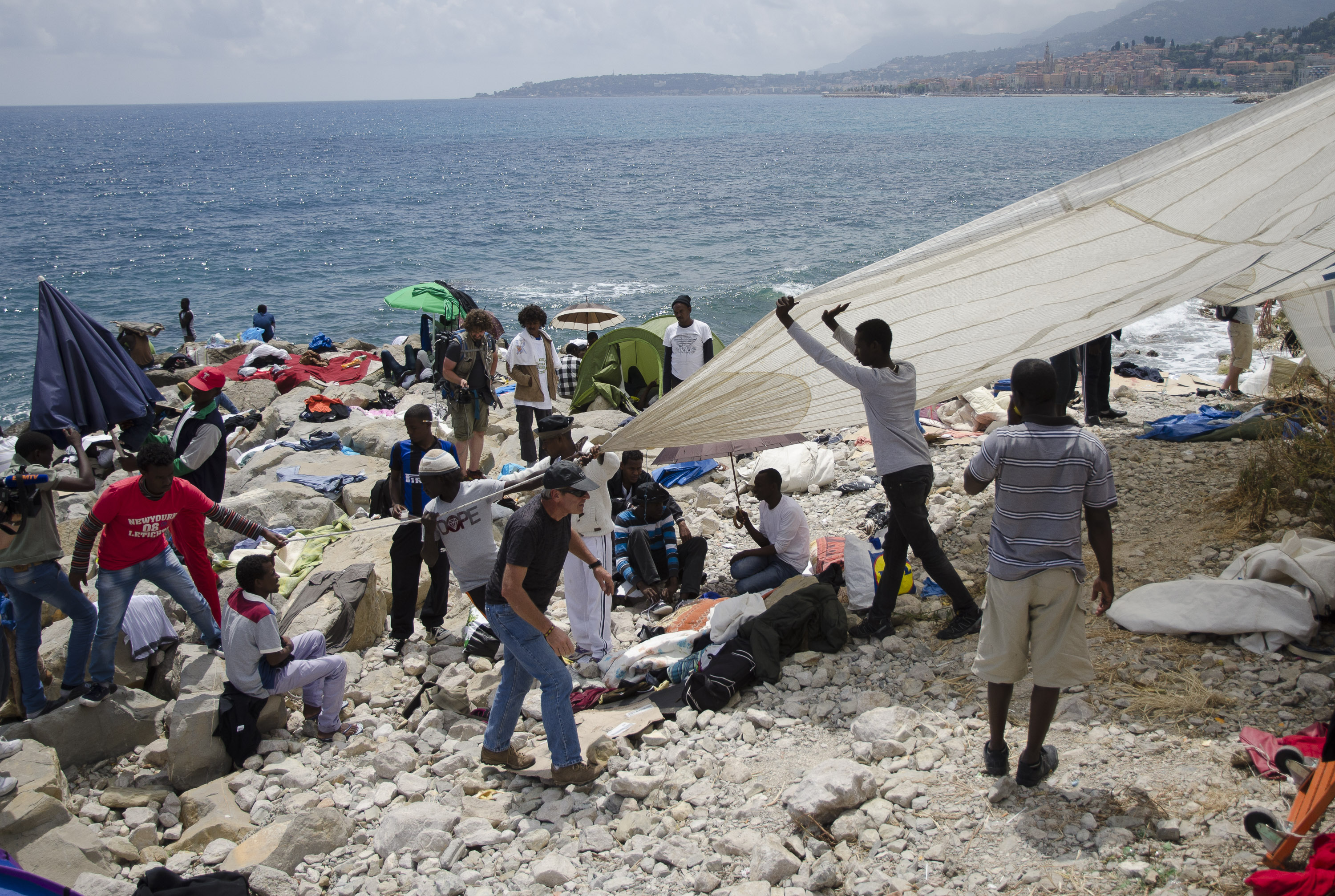 Italy-Refugees on the Italian-French border at Ventimiglia